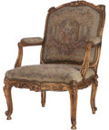 Furniture : French, A Louis XVI-Style Partial Giltwood and Needlepoint UpholsteredFauteuil, 19th century in part. 41 inches high x 28 inches wi...