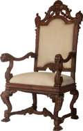 Furniture : Continental, A Continental Carved Oak and Upholstered Armchair with FiguralCrest, 20th century. 60 inches high x 30 inches wide x 29 inc...