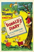 "Movie Posters:Animated, Donald's Diary (RKO, 1954). One Sheet (27"" X 41""). ..."