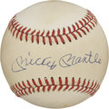 Autographs:Baseballs, Mickey Mantle Single Signed Baseball and Sports Card Lot of 2. The OAL (Brown) baseball has the honor of holding the signat...
