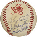 Autographs:Baseballs, 1980 New York Old Timers Baseball. On the surface of this officialorb from the 1975 World Series we present this orb signe...