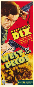 """Movie Posters:Western, West of the Pecos (RKO, 1935). Insert (14"""" X 36""""). ..."""