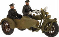 Antiques:Toys, 1930s Hubley Harley Davidson Motorcycle with Side Car.... (Total: 3 Items)