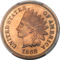 Proof Indian Cents, 1868 1C PR66 Red Cameo PCGS. CAC....