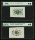 Fractional Currency:First Issue, Fr. 1243SP 10¢ First Issue Wide Margin Pair PMG Choice Uncirculated 64.. ... (Total: 2 notes)