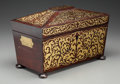 Paintings, An English Regency Mahogany and Brass Tea Caddy, 19th century. 8-1/4 inches high x 13 inches wide x 6-3/4 inches deep (21.0 ...