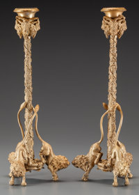 A Pair of Gilt Bronze Figural Candlesticks, 20th century 12-1/2 inches high (31.8 cm)