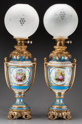 Ceramics & Porcelain, A Pair of Sèvres-Styles Porcelain and Glass Oil Lamps with Gilt Bronze Mounts, late 19th century. 31-1/2 inches high (80.0 c... (Total: 4 Items)