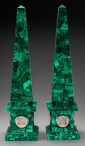 Decorative Arts, Continental, A Pair of Malachite Veneered Obelisks with Micromosaic Plaques,20th century. 27-1/4 inches high (69.2 cm). ... (Total: 2 Items)