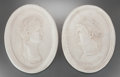 Decorative Arts, Continental:Other , A Group of Four Italian Carrara Marble Portraits Depicting RomanEmperors, 20th century. 17 inches high x 13-1/2 inches wide...(Total: 4 Items)