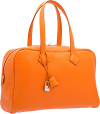"""Hermes Feu Clemence Leather Victoria II Bag with Palladium Hardware Pristine Condition 14"""" Width x 9"""" Height..."""