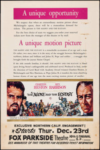 "The Agony and the Ecstasy (20th Century Fox, 1965). Poster (40"" X 60""). Drama"
