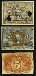 Fractional Currency:Second Issue, Fr. 1232SP 5¢ Second Issue Narrow Margin Pair Choice New; . Milton #2E25F.3c 25¢ Second Issue Experimental Face New.. ... (Total: 3 notes)