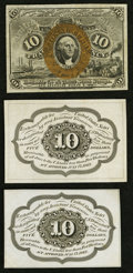 Fractional Currency:First Issue, Fr. 1243SP 10¢ First Issue Back Specimen (2) Choice New; . Fr. 1244SP 10¢ Second Issue Face Specimen Choice New.. ... (Total: 3 notes)