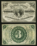 Fractional Currency:Third Issue, Fr. 1226SP 3¢ Third Issue Narrow Margin Pair New.. ... (Total: 2 notes)