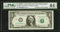 Fancy Serial Number Fr. 1901-I $1 1963A Federal Reserve Note. PMG Choice Uncirculated 64 EPQ