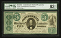 Confederate Notes:1861 Issues, CT33/250 Counterfeit $5 1861.. ...