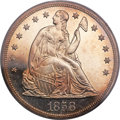 Proof Seated Dollars, 1858 $1 PR64 Cameo PCGS. CAC....