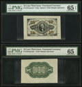 Fr. 1251/55SP 10¢ Third Issue Wide Margin Pair PMG Gem Uncirculated 65 EPQ and 65