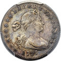 Early Half Dimes, 1797 H10C 15 Stars, V-2, LM-1, R.3 -- Cleaning -- PCGS Genuine. AUDetails....