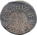 1652 SHILNG Oak Tree Shilling, IN at Bottom -- Damage -- PCGS Genuine. XF Details. Noe-5, W-470, Salmon 3-D, R.2....(PCG...