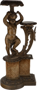 Furniture : Continental, A Painted and Carved Wood Figural Double Pedestal with Velvet Trim,late 19th century. 49 inches high x 22-1/2 inches wide x...