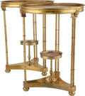 Furniture : French, A Pair of Neoclassical-Style Gilt Metal Gueridons with StriatedPink Marble Tops, 20th century. 27-1/2 inches high x 20-1/4 ...(Total: 2 Items)