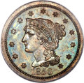 Proof Large Cents, 1856 1C Slanted 5, N-5, Low R.5, PR64 Brown PCGS. CAC....