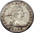 Early Half Dimes, 1796 H10C LIKERTY, V-1, LM-1, R.3, AU53 PCGS....