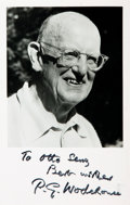 Autographs:Authors, P.G. Wodehouse Autograph Note Signed on a Photo Postcard of theAuthor with a Second Signature and Inscription....
