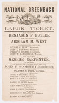 Political:Small Paper (pre-1896), Butler & West: Unusual Greenback Party Paper Ticket,...