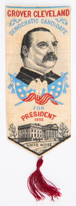 Political:Ribbons & Badges, Grover Cleveland: 1892 Woven Portrait Ribbon....