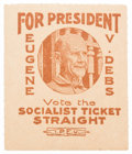 """Political:Small Paper (1896-present), Eugene V. Debs: Great """"Convict"""" Stamp from the 1920 Campaign...."""