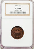 Proof Two Cent Pieces, 1865 2C PR65 Red and Brown NGC....