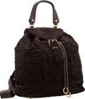 "Luxury Accessories:Bags, Yves Saint Laurent Brown Marbled Mohair & Leather Backpack Bag. Very Good Condition. 13"" Width x 12"" Height x 7"" Depth..."