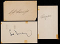 Baseball Collectibles:Others, Harridge, Martin, Williams and Greenberg Signed Index Card and GPCs(3)....