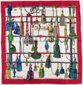 """Luxury Accessories:Accessories, Hermes 90cm Red, White & Green """"Passamenterie,"""" by Francoise Heron Silk Scarf. Excellent Condition. 36"""" Width x 36"""" Length..."""