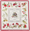 "Luxury Accessories:Accessories, Hermes 90cm White & Red ""Quai aux Fleurs,"" by Hugo Grygkar SilkScarf. Excellent Condition. 36"" Width x 36 Length. ..."