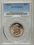 Washington Quarters, 1932-S 25C MS64 PCGS. PCGS Population (1128/148). NGC Census:(595/74). Mintage: 408,000. Numismedia Wsl. Price for problem...