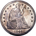Proof Seated Dollars, 1848 $1 -- Smoothed -- PCGS Genuine. Proof, AU Details....