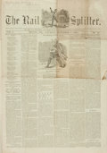 Books:Periodicals, [Abraham Lincoln, Newspapers]. The Rail Splitter, Vol. I,No. 12. September 8, 1860....