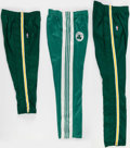 Basketball Collectibles:Uniforms, Boston Celtics Game Worn Warmup Pants Lot of 3....