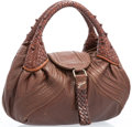 """Luxury Accessories:Accessories, Fendi Brown Leather Mini Spy Bag with Gold Hardware. Very Goodto Excellent Condition. 11"""" Width x 8"""" Height x 2.5""""De..."""