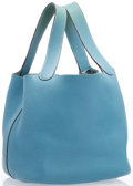 """Luxury Accessories:Accessories, Hermes Blue Jean Clemence Leather Pictotin PM Tote Bag with Palladium Hardware. Good Condition. 8"""" Width x 8"""" Heig..."""