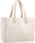 """Luxury Accessories:Accessories, Chanel Beige Jacquard Canvas & Leather Tote Bag with SilverHardware. Good Condition. 13"""" Width x 10"""" Height x 4.5""""Depth,..."""