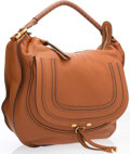 """Luxury Accessories:Accessories, Chloe Brown Leather Marcie Shoulder Bag with Gold Hardware. Very Good Condition. 15"""" Width x 13"""" Height x 5"""" Depth, 5"""" Sho..."""