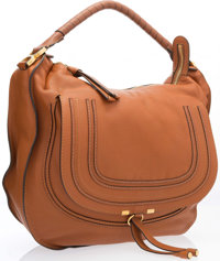 "Chloe Brown Leather Marcie Shoulder Bag with Gold Hardware Very Good Condition 15"" Width x 13"" Height x 5""..."