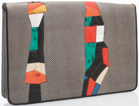 Judith Leiber Multicolor Karung & Leather Clutch Bag with Silver Hardware Good to Very Good Condition