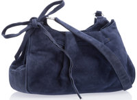"""Judith Leiber Blue Suede Shoulder Bag with Silver Hardware Good to Very Good Condition 11"""" Width x 7"""" Height..."""