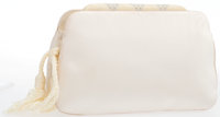 "Judith Leiber White Satin & Silver Crystal Evening Bag with Gold Hardware Good to Very Good Condition 7.5"" W"